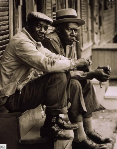 Two locals on a stoop in 1962