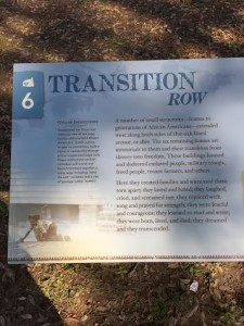 Transition Row where freed slaves transitioning lived and soldiers during the Civil War
