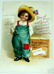 "Postcard of boy standing next to box of ""Fire Works."" Symbolizes the availability of fireworks for small children. Artist is Ellen H. Clapsaddle. Manufacturer is the International Art Publishing Company; printed in Germany. Approx. 1912"