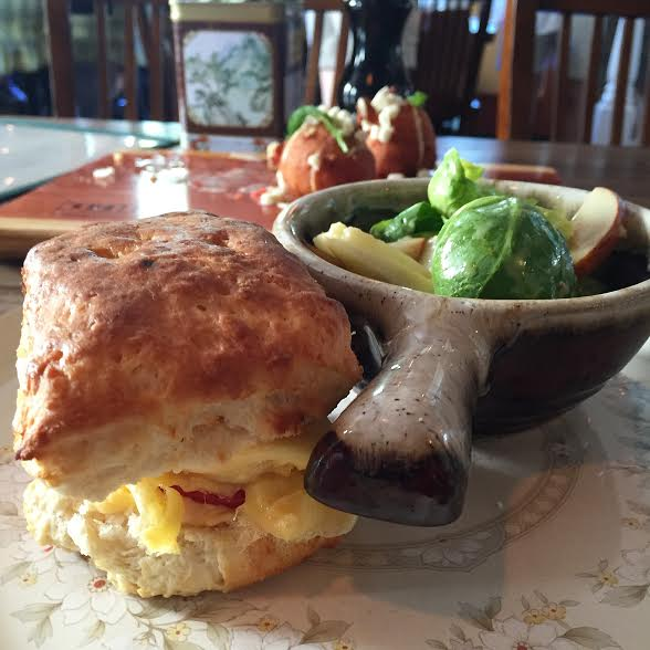 Tomato, pimento cheese and egg biscuit