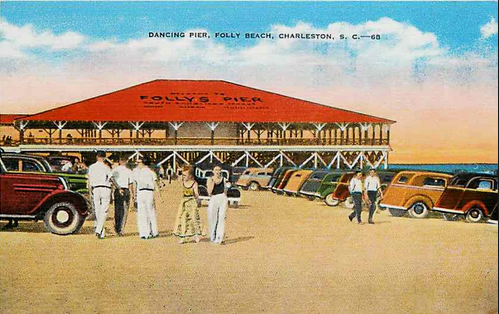 Vintage Folly Beach Postcard