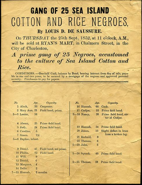 Print advertisement for sale of slaves