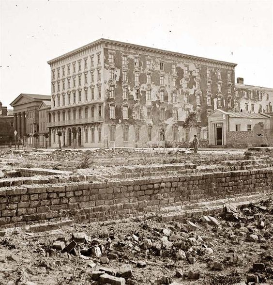 Fire scarred Mills House - 1865