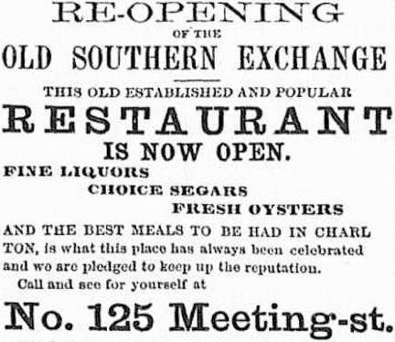 Old Charleston Restaurant Newspaper Ad