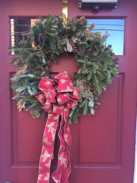 Wreath on red door