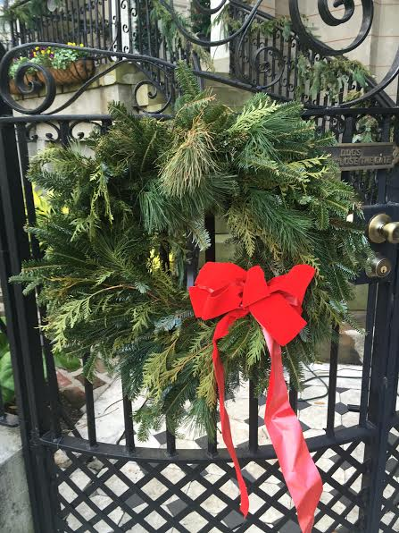 Wreath on fence in historic Charleston