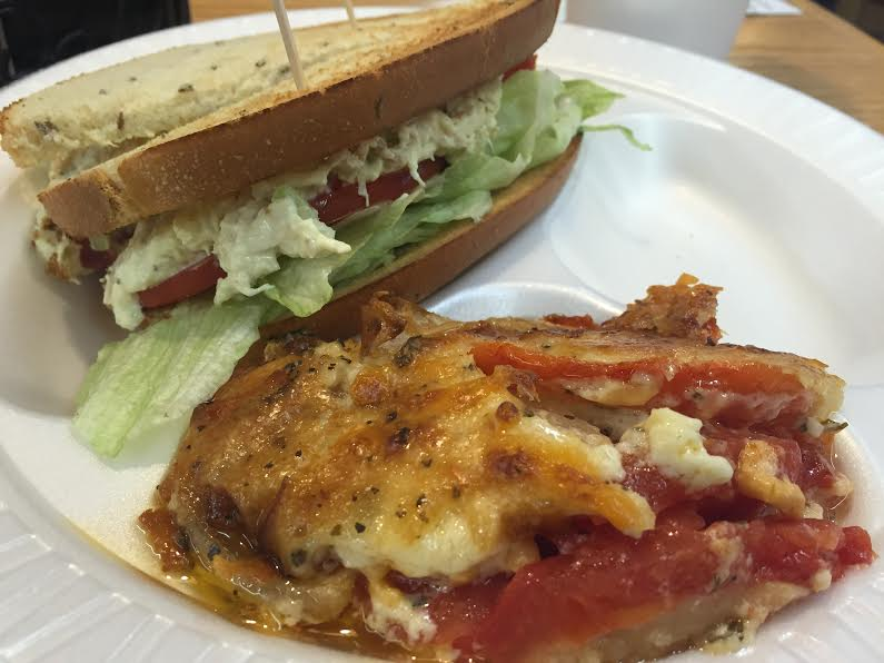Chicken Salad Sandwich with Tomato Pie