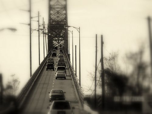 Beautiful Black and White of the Old Cooper River Bridge