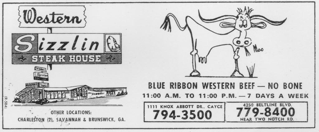 Western Sizzlin Ad - 1980's