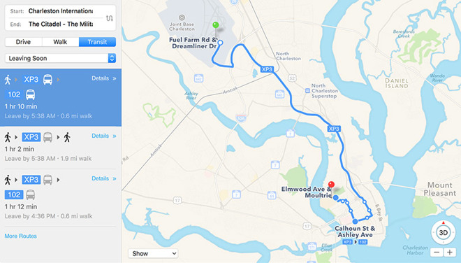 Apple Maps activates Transit directions in South Carolina ... on
